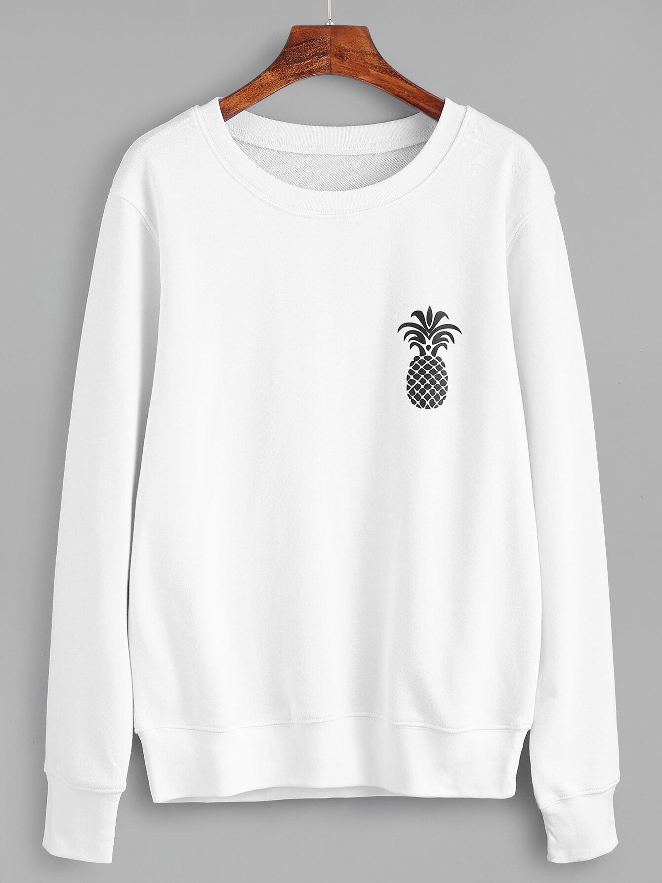 White Pineapple Print Sweatshirtfor Women Romwe