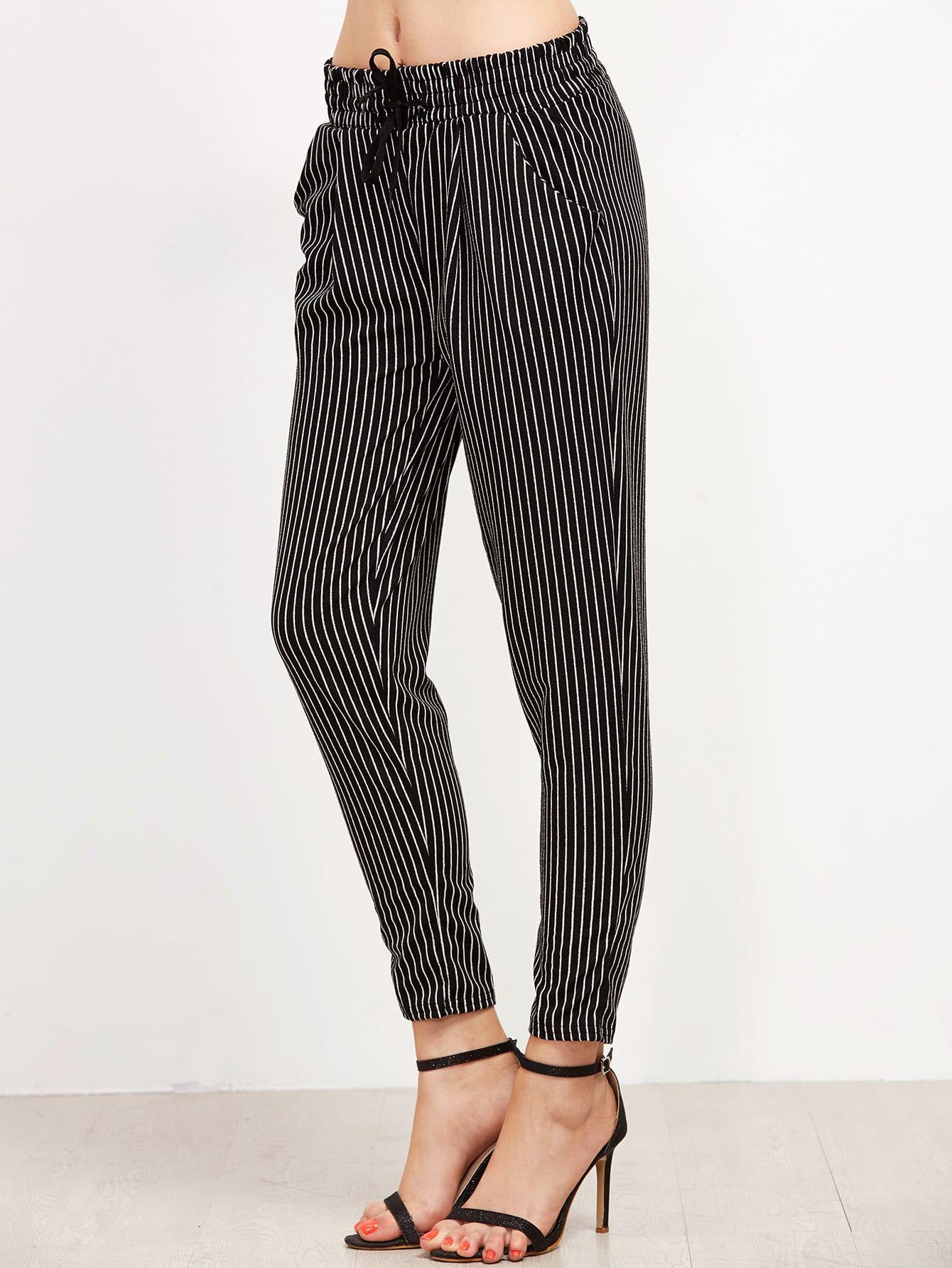 Black Vertical Striped Drawstring Pants