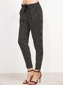 Pantalones a rayas verticales con cordón - negro