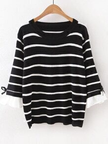 Black Striped Ruffle Sleeve Sweater With Bow Tie