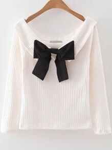 gerippte Pullover mit Schleife Boot-Ausschnitt-weiß