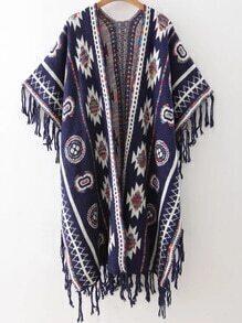 Jersey poncho con estampado tribual y flecos - azul marino