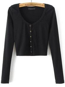 Black Round Neck Button Up Crop Cardigan