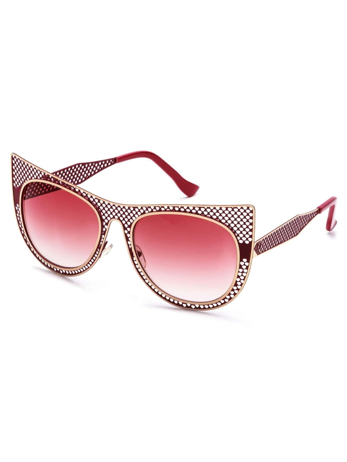 Red Hollow Frame Cat Eye Sunglasses