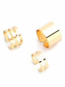 Conjunto de anillos huecos 3PCS - dorado
