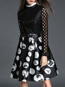 Black Mesh Belted Print A-Line Dress