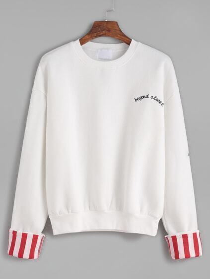 White Embroidered Contrast Cuffed Sweatshirt