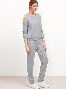 Sweat-shirt épaules découpées en pompons avec pantalons - gris