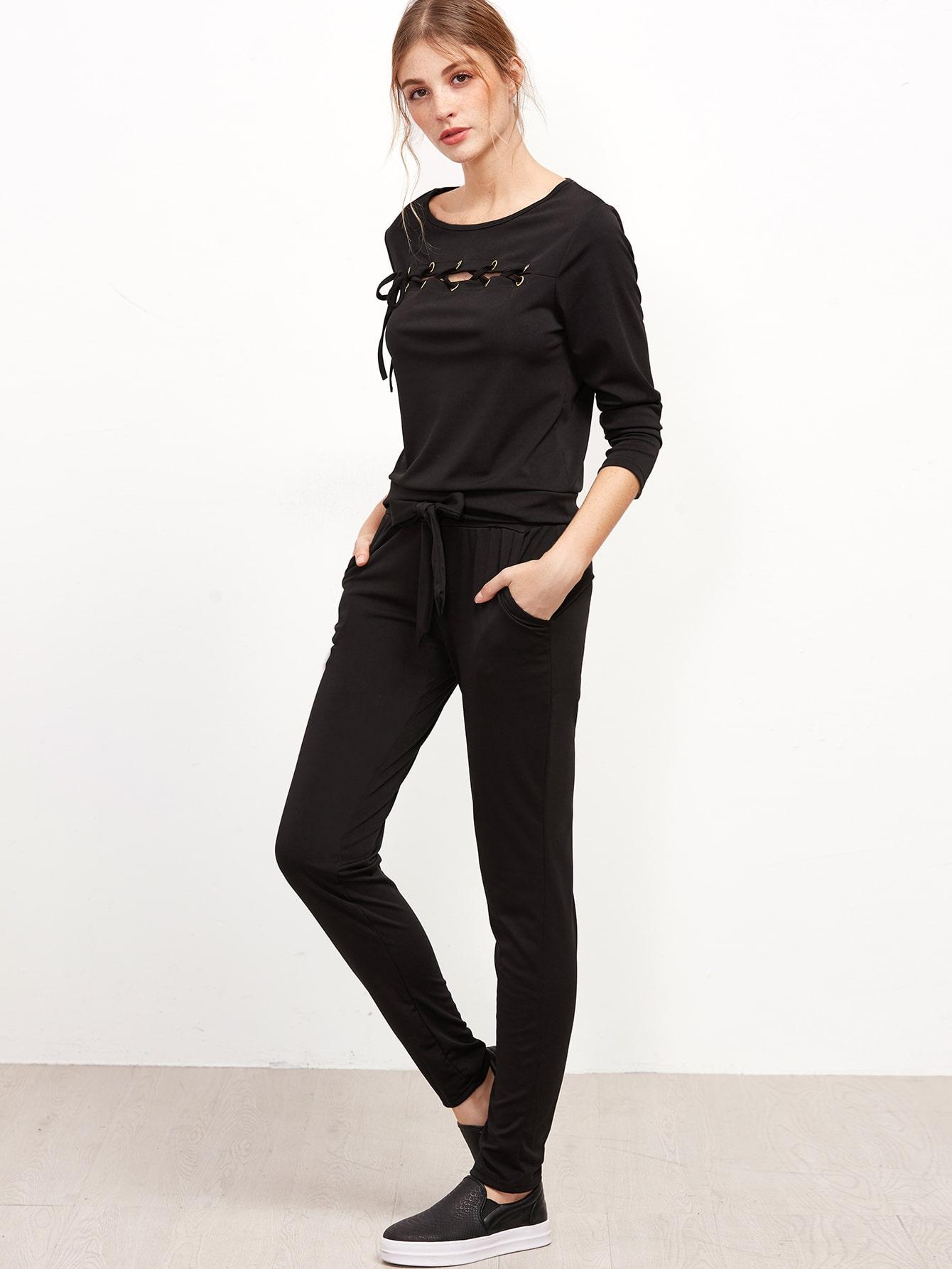 Black Eyelet Lace Up Trim Sweatshirt With Pants