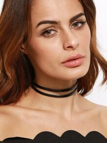 Black Double Layer Faux Leather Choker Necklace