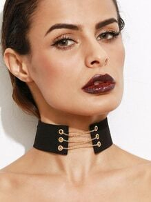 Black Metal Chain Tie Back Wide Choker Necklace