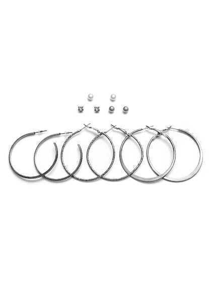 Silver Plated Hoop Earrings Set