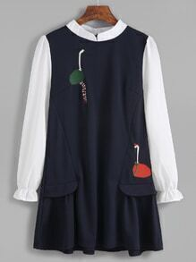 Contrast Embroidered Zip Back 2 In 1 Dress