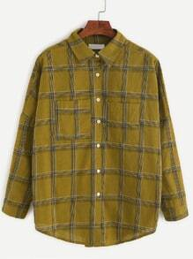 Khaki Plaid Drop Shoulder Dip Hem Pocket Shirt