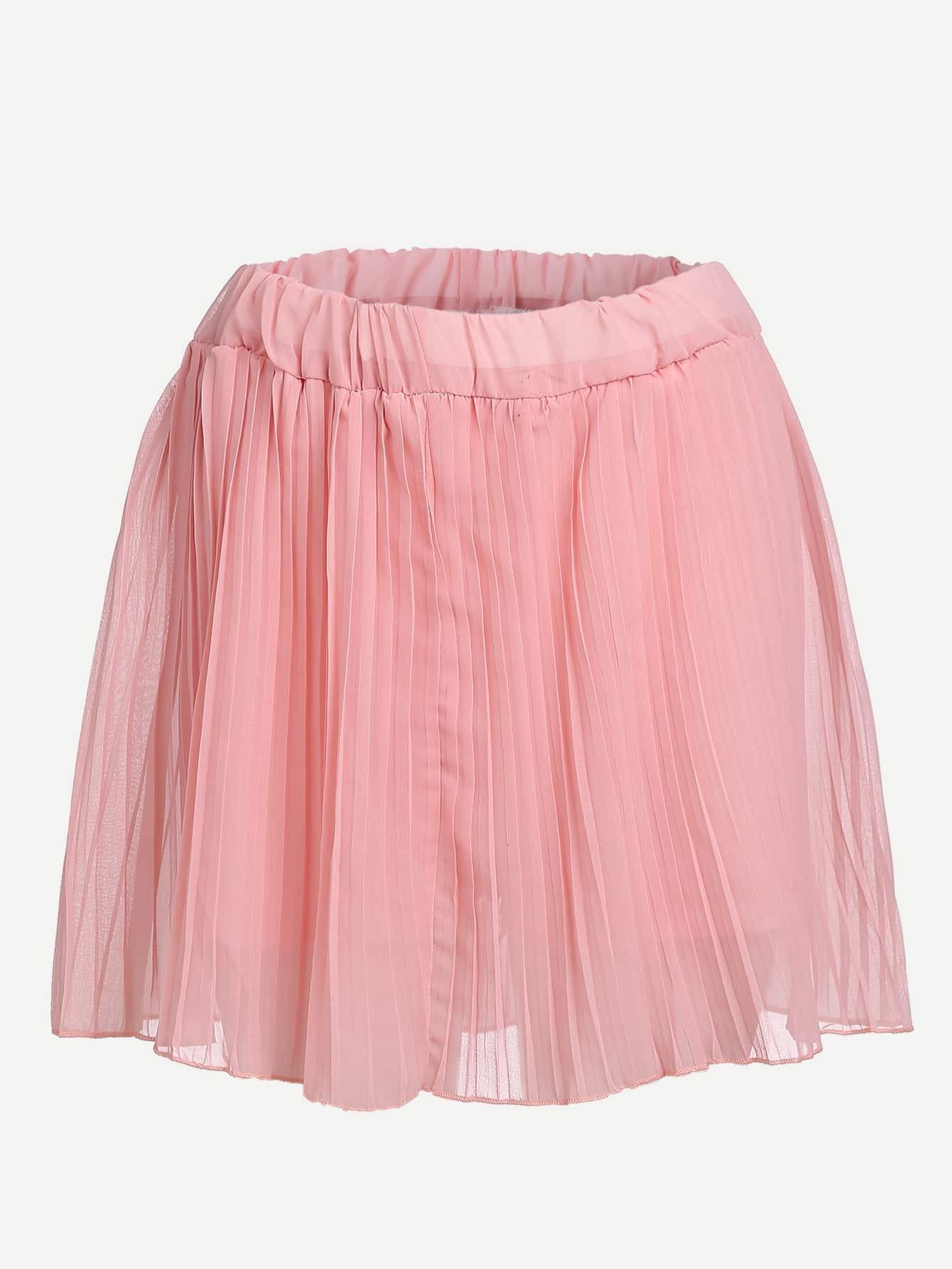 pink elastic waist pleated chiffon skirt