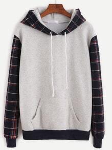 Sweat-shirt en écossais manche contrasté avec capuche - gris