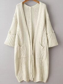 Beige Rolled Cuff Long Cardigan With Pockets