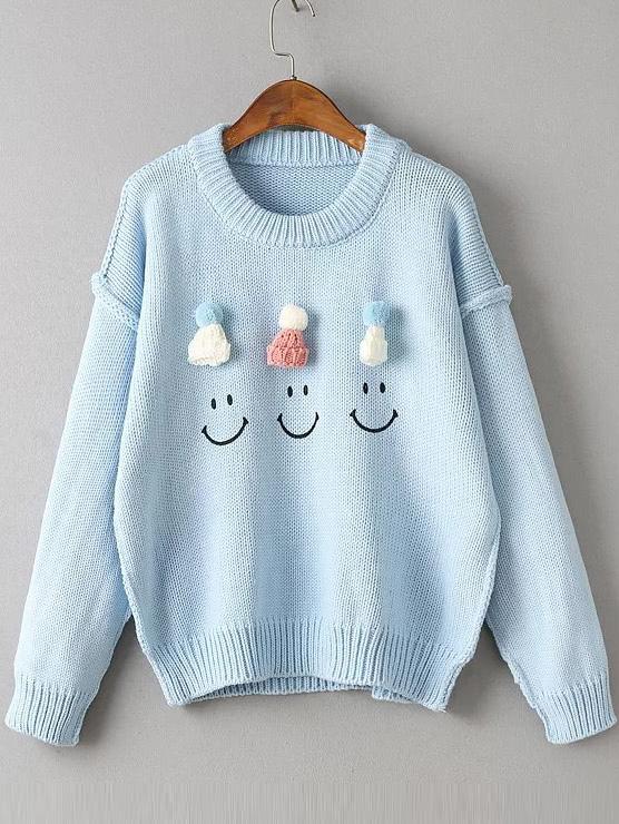 Blue Hat Embellished Drop Shoulder Cute Sweaterfor Women Romwe