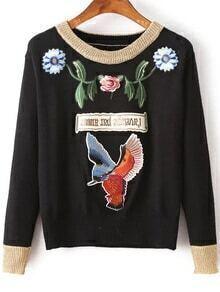 Pull contrasté avec broderie motif oiseau - noir