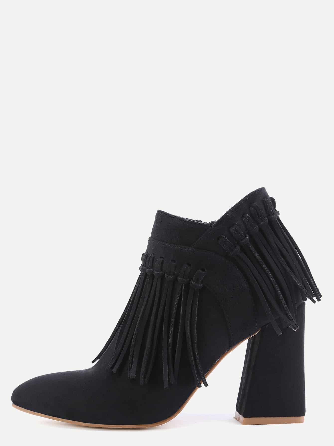 black faux suede tassel fringe chunky heel ankle boots