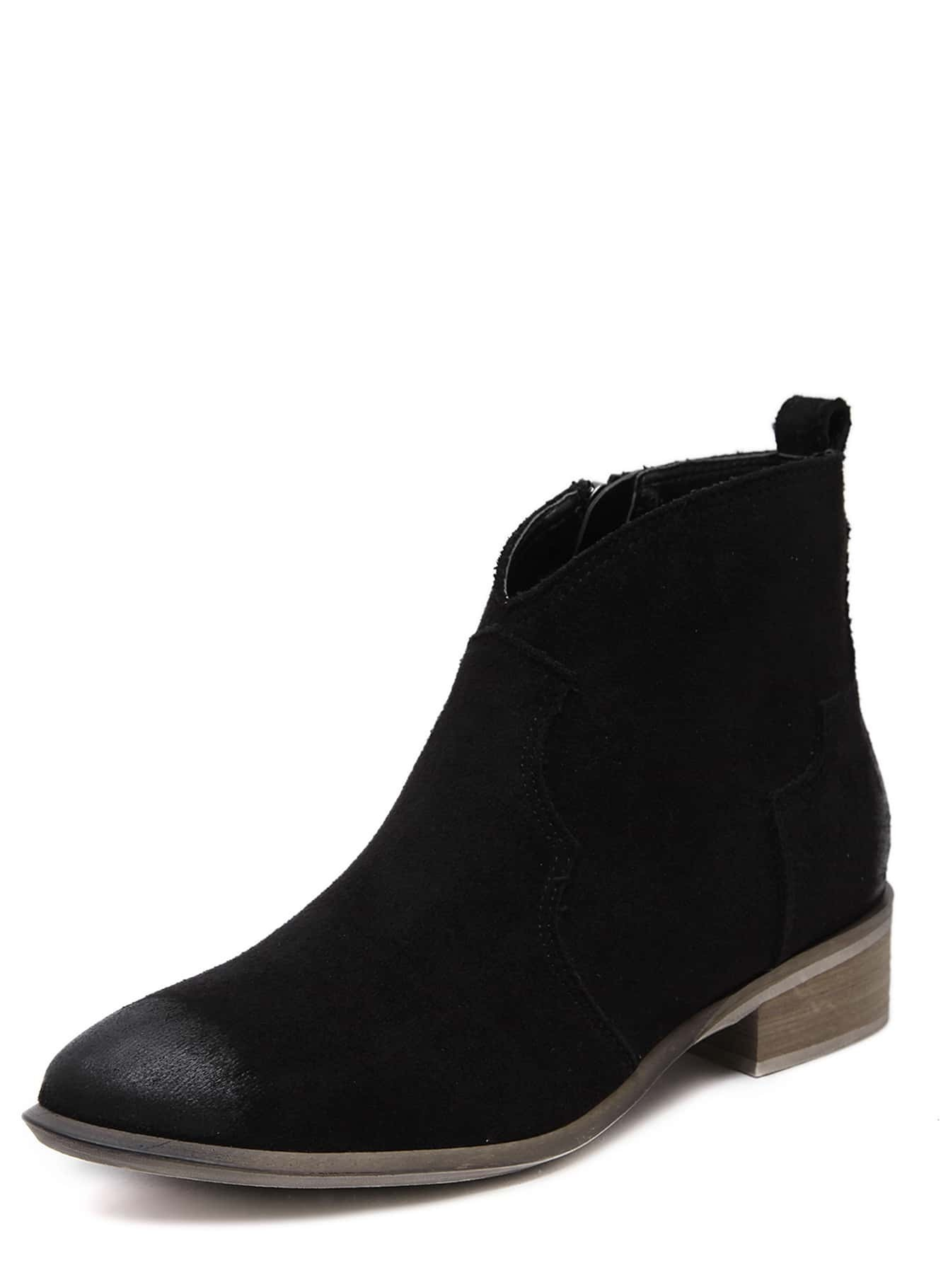 bottines talon en su d effet us noir french romwe