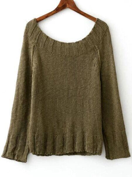 Army Green Boat Neck Raglan Sleeve Sweater sweater161004201