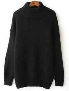 Jersey con cuello alto con hombros caídos - negro