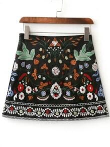 Black Flower Embroidery Mini Skirt