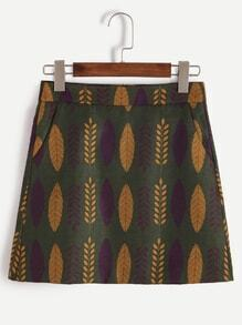 Green Leaf Print Zipper Detail Skirt