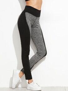 Color Block Elastic Waist Leggings