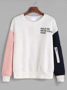 Sweat-shirt contrasté imprimé lettres avec zip