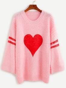 Jersey con estampado de corazón de raya universitaria - rosa