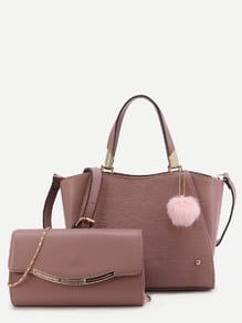 Cameo Brown PU Pom Pom Trim Convertible Handbag With Chain Bag