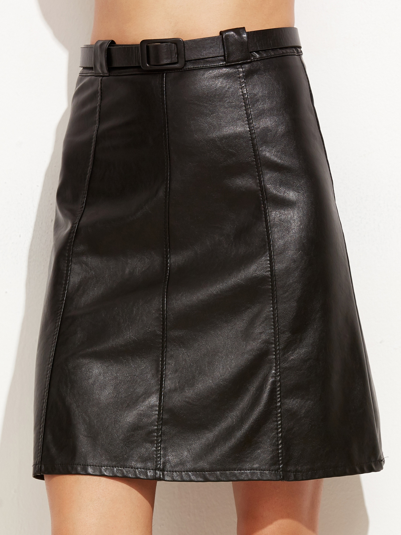 black faux leather a line skirt with belt