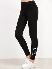 Black Embroidered Hem Leggings