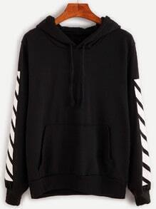 Black Letter Print Hooded Sweatshirt
