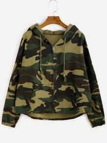 Camo Letter Print High Low Hooded Coat
