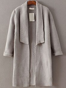 Grey Shawl Collar Roll Cuff Long Sweater Coat