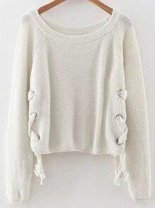 Jersey holgado con cordón - blanco