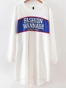White Letter Print High Low Sweatshirt Dress