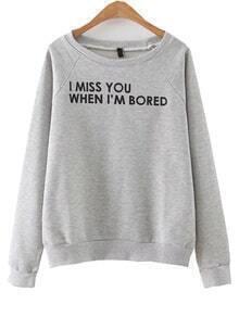 Sweat-shirt imprimé lettres manche raglan - gris