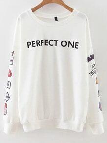 Sweatshirt Buchstaben Druck -weiß