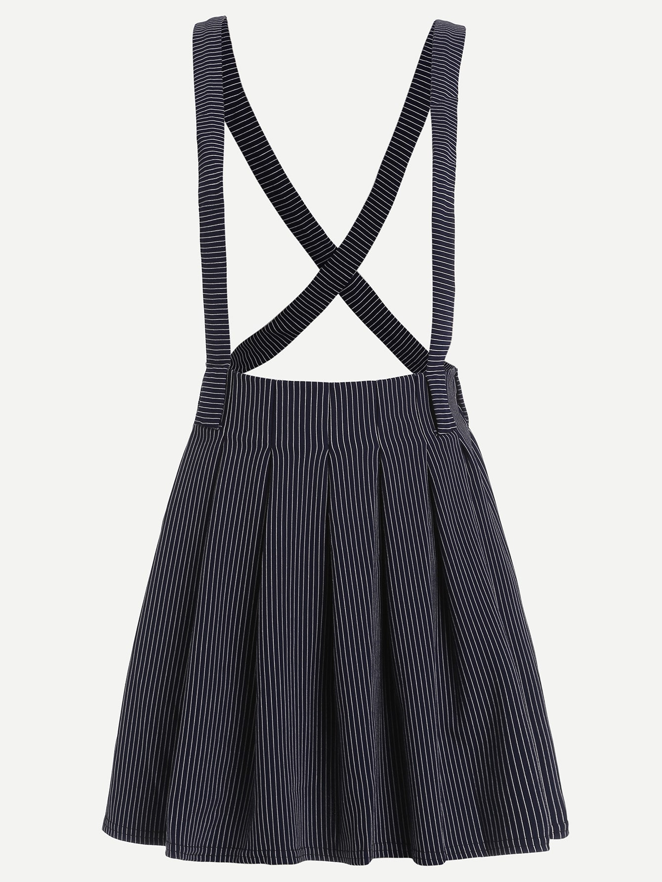 Navy Striped Suspender Pleated Skirt