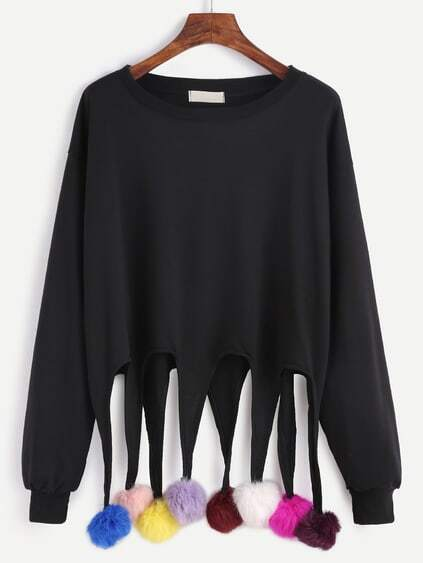 Black Drop Shoulder Sweatshirt With Colorful Pom Pom Detail