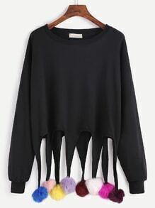 Black Drop Shoulder Sweatshirt With Colorful Pom Pom Detail