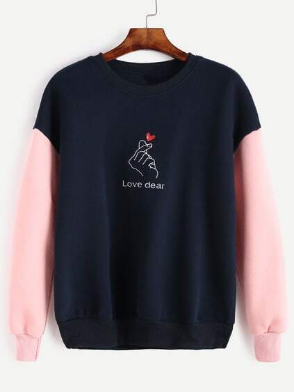 Color Block Letter Heart Embroidery Sweatshirt