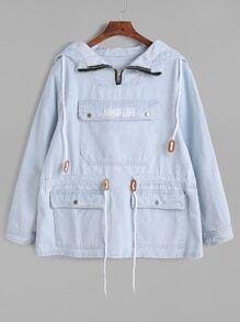 Blue Pocket Front Drawstring Waist Denim Hooded Sweatshirt