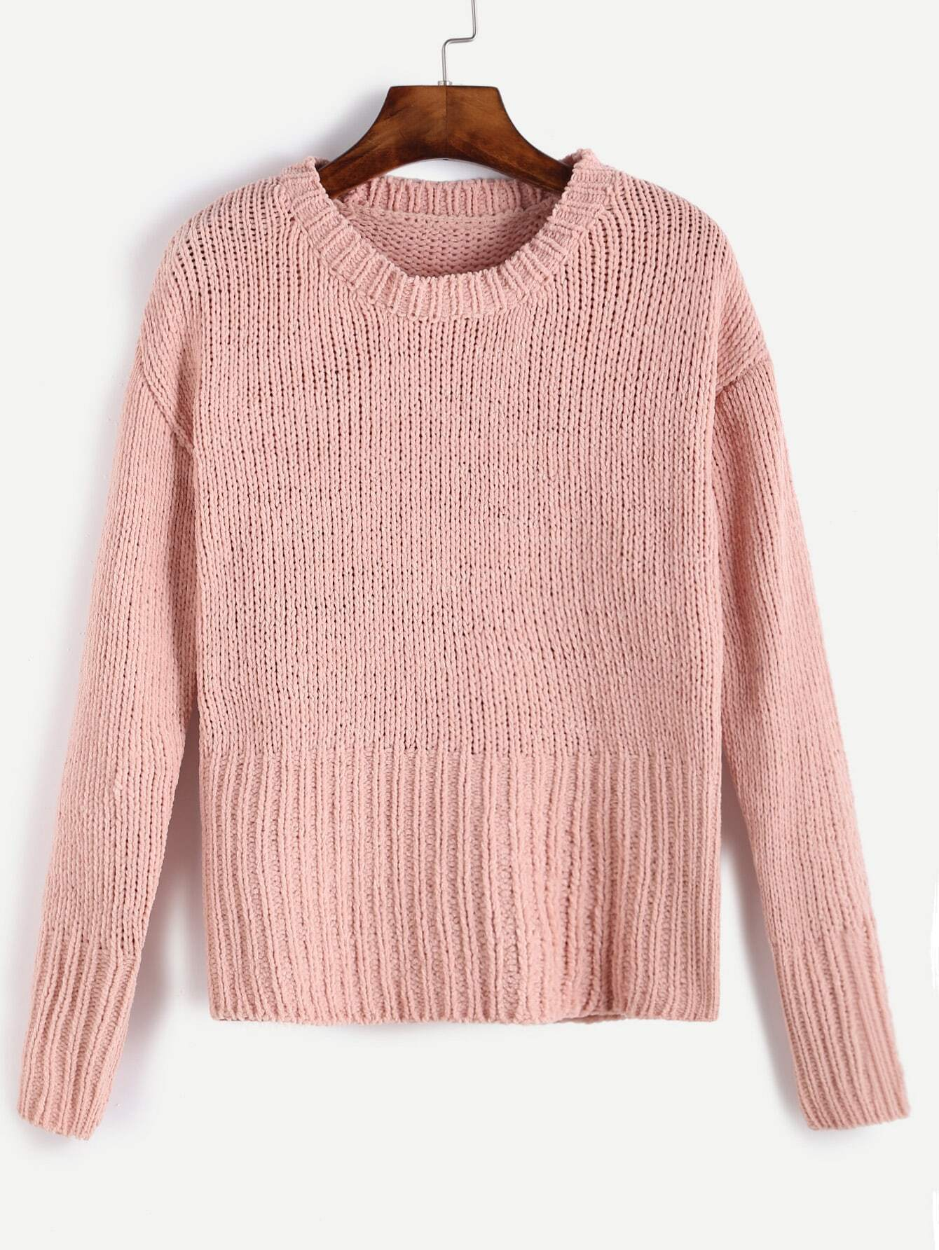 Knitting Sweaters In The Round : Pink round neck ribbed knit sweaterfor women romwe