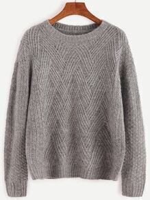 Pullover mit Zopfmuster Drop Schulter -grau