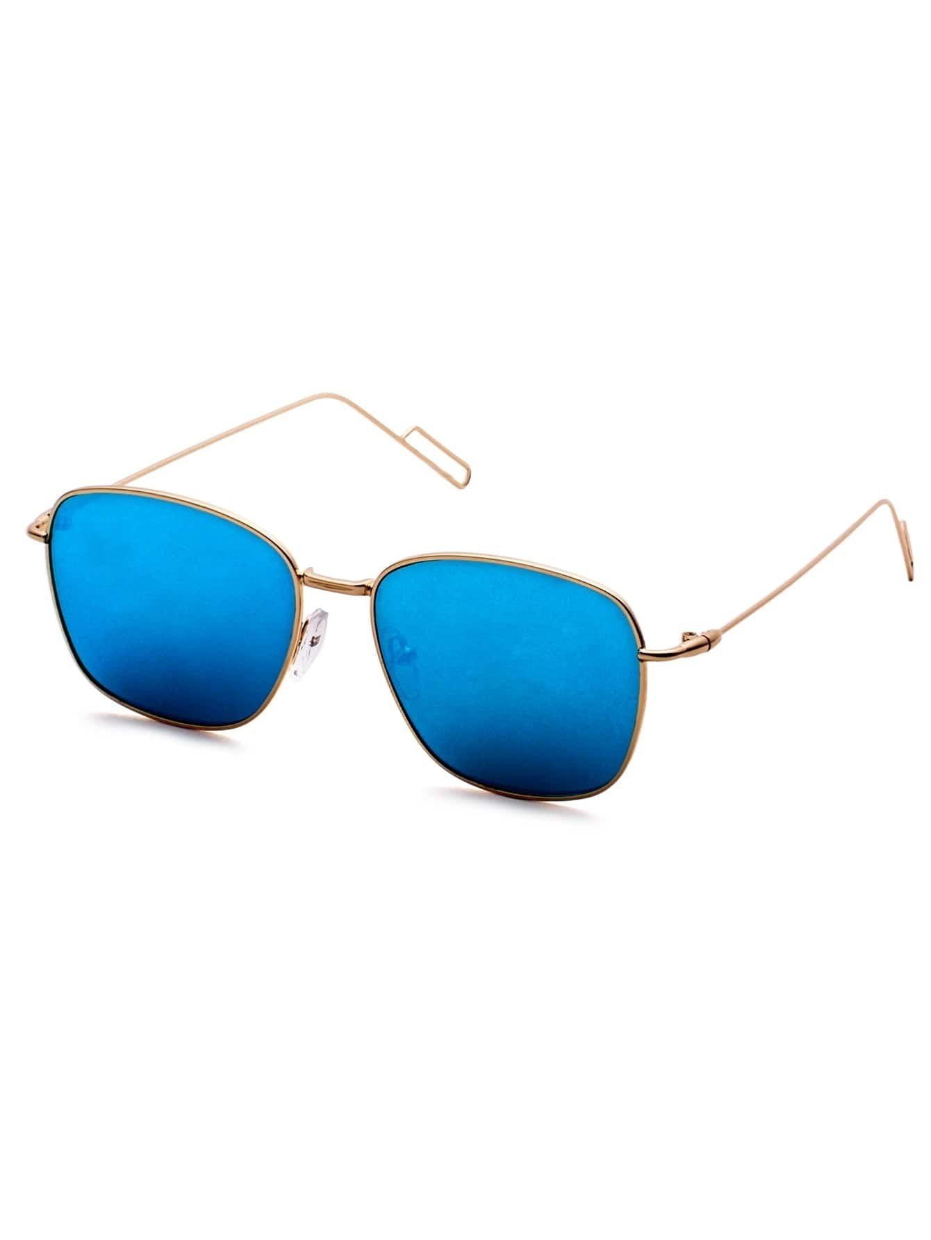 Gold Delicate Frame Blue Lens Sunglasses sunglass160928305